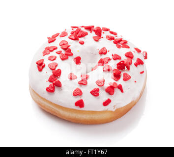 Donut with heart shaped decor. Isolated on white background - Stock Photo