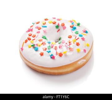 Donut with colorful decor. Isolated on white background - Stock Photo