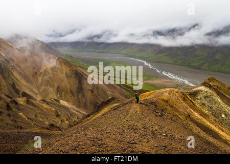 A Backpacker in a red jacket looking out over a valley appears tiny against the epic scale of Denali National Park - Stock Photo