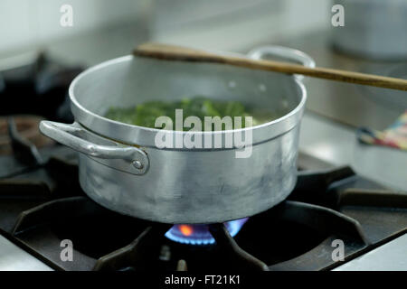 Vegetables being cooked in a metal pan on a stove - Stock Photo