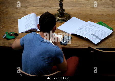 Overhead view of a student studying - Stock Photo