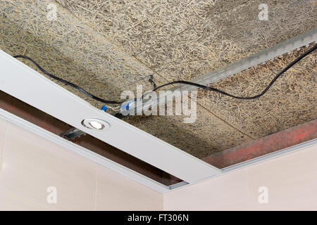 fiber mat suspended ceilings and electrical wiring - Stock Photo