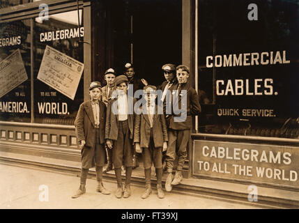 Portrait of Young Postal Telegraph Messengers, Indianapolis, Indiana, USA, circa 1908 - Stock Photo