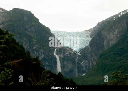 Hanging Glacier - Queulat National Park - Chile - Stock Photo
