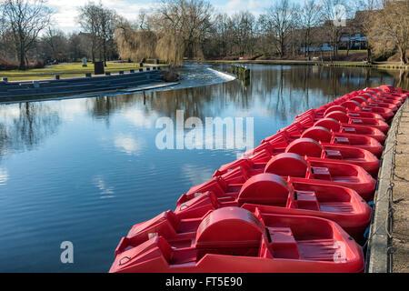 Pedal punts in Odense river, Denmark - Stock Photo