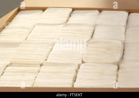 Paper napkins and towels in closeup as background - Stock Photo