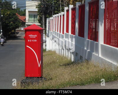 Thailand red post box, a large local post office. - Stock Photo