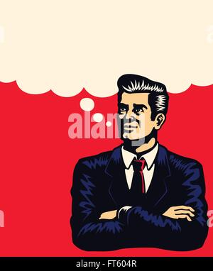 Retro businessman thinking with arms folded, imagining, planning business strategy with comic book style speech bubble vector il