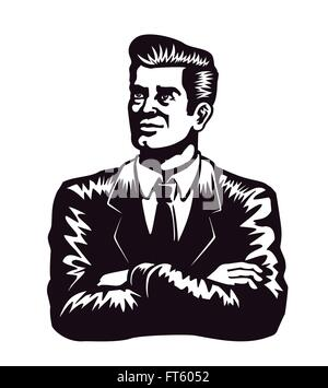 Vintage man in suit and tie with arms crossed and self-confident expression vector illustration on white background