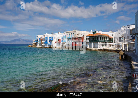 View of Little Venice in the town of Mykonos, Greece. - Stock Photo
