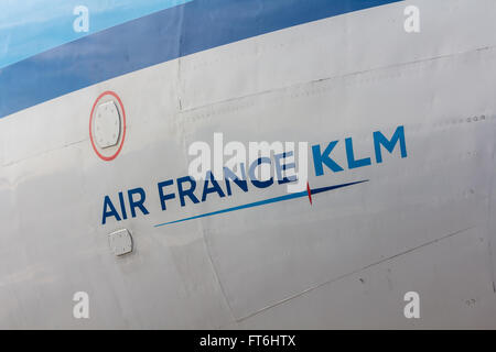 Amsterdam Schiphol Airport, NorthHolland/the Netherlands - March 10 2016: Air France KLM painted on the side of - Stock Photo