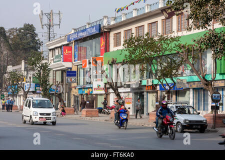 Nepal, Kathmandu.  Durbar Marg Street. - Stock Photo