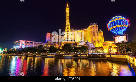View of the Strip from side of the Bellagio fountain. - Stock Photo