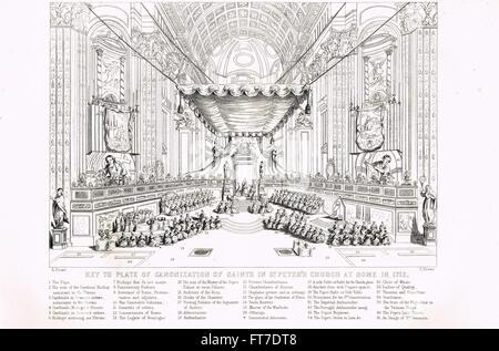 Key to image FT7DT9 Canonization of Saints, St Peter's Basilica, Vatican City, Rome 1712 - Stock Photo