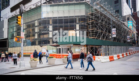 Renovation work proceeds on the space formerly occupied by Toys R Us in Times Square in New York on Friday, March - Stock Photo