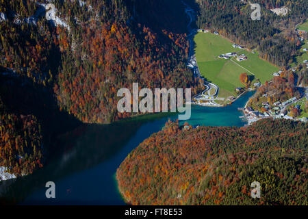 Aerial view over lake Königssee from the mountain Jenner in autumn, Berchtesgaden National Park, Bavarian Alps, - Stock Photo