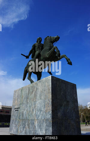 Monument of Alexander the Great commander and Greek hero on his horse Bucephalus at the promenade of Salonica city, - Stock Photo