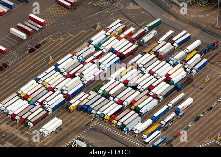 Aerial view of queueing trucks, HGVs, Dover harbour port Kent England - Stock Photo