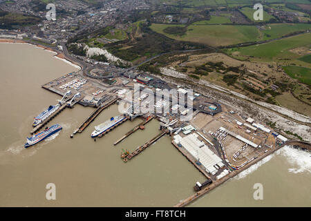 Aerial view of Dover harbour port, Kent - Stock Photo