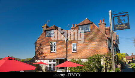 Hartfield, East Sussex, England. The tiled façade of Pooh Corner, a gift shop and tea garden in the heart of the - Stock Photo