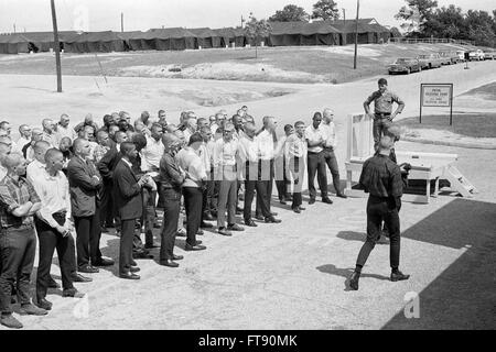 Vietnam Draft. Newly drafted soldiers at initial receving point in Fort Jackson, Columbia, South Carolina, May 1967. - Stock Photo