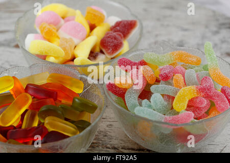 Sweet candies in a glass bowl - Stock Photo