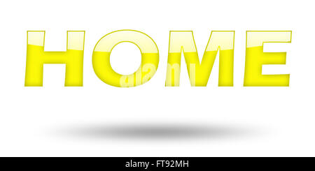 Text HOME with yellow letters and shadow. - Stock Photo