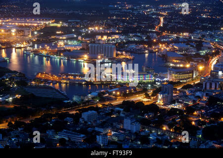 Aerial view of Port-Louis Mauritius at night - Stock Photo