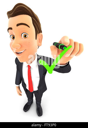 3d businessman drawing positive check mark, isolated white background - Stock Photo