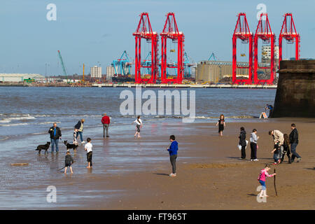 New Brighton, Wallasey.  25th March 2016. UK Weather. Holidaymakers enjoying the spring sunshine on the beach in - Stock Photo