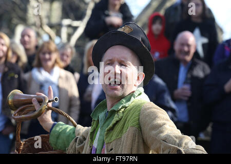 Heptonstall, UK, 25th March 2016. 'Toss Pot' a character in the pace egg play in Heptonstall, UK, 25th March 2016 - Stock Photo