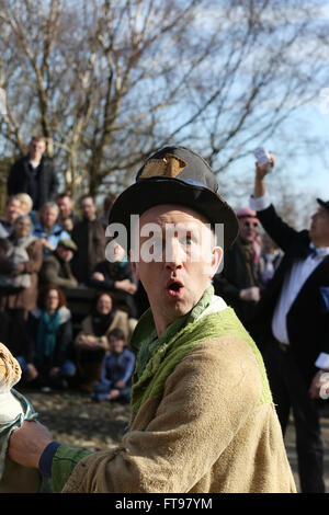 Heptonstall, UK, 25th March 2016. 'Toss Pot' in character for the pace egg play in Heptonstall, UK, 25th March 2016 - Stock Photo