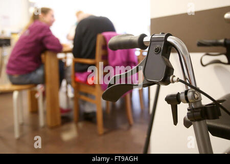 Hamburg, Germany. 21st Mar, 2016. A wheeled walker pictured in the recreation room of the Veringeck daycare nursing - Stock Photo