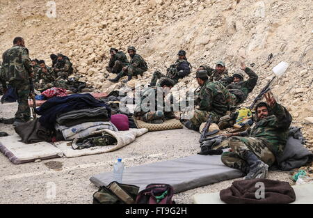 Palmyra, Syria. 26th Mar, 2016. Soldiers of the Syrian government army at the Fahkr ad-Din al-Maani castle in Palmyra, - Stock Photo