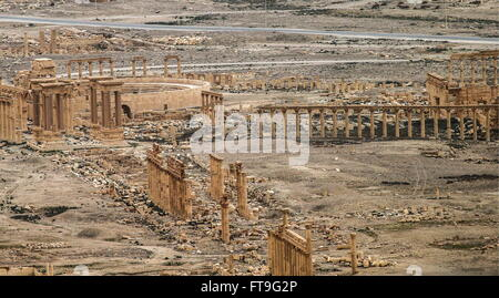 Palmyra, Syria. 26th Mar, 2016. A view of ancient pillars in Palmyra, a UNESCO World Heritage Site. The Syrian Government's - Stock Photo