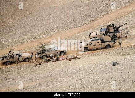 Palmyra, Syria. 26th Mar, 2016. Armoured vehicles of the Desert Falcons militia unit in Palmyra, a UNESCO World - Stock Photo