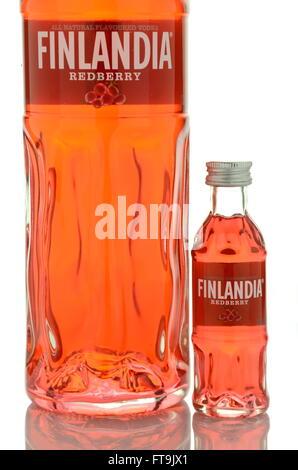 Finlandia redberry vodka isolated on white. Stock Photo