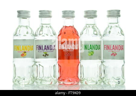 Variety of natural flavoured Finlandia vodka isolated on white background. Stock Photo