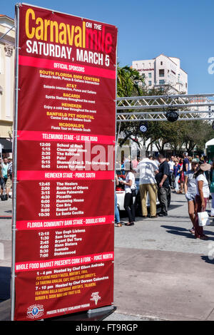 Florida FL Miami Coral Gables Carnaval Carnival Miracle Mile street festival annual celebration Hispanic sign information - Stock Photo