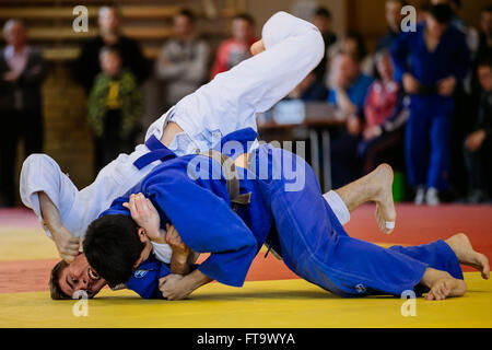 Chelyabinsk, Russia -  March 19, 2016: battle of two fighters judo during Russian competition on judo - Stock Photo