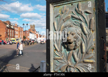 Ludlow Shropshire an old ornate water drinking fountain in Castle Square - Stock Photo