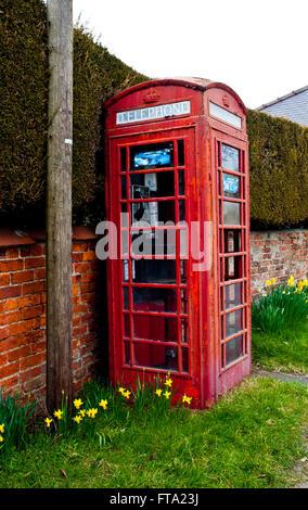 Telephone Box at Warthill, Yorkshire - Stock Photo