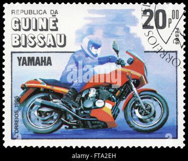 BUDAPEST, HUNGARY - 18 march 2016:  a stamp printed in the Guinea-Bissau shows Yamaha, Motorcycle Centenary, circa - Stock Photo