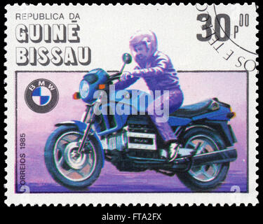 BUDAPEST, HUNGARY - 18 march 2016:  a stamp printed in the Guinea-Bissau shows BMW, Motorcycle Centenary, circa - Stock Photo