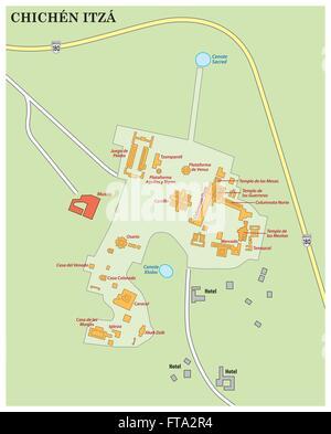 Map Chichen Itza Archaeological Site Yucatan Mexico Stock Photo - Chichen itza map