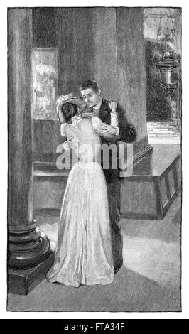 Black and white engraving of a Victorian couple in an embrace.