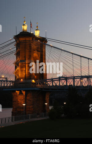 John A. Roebling Suspension Bridge. Cincinnati, Ohio, USA. - Stock Photo