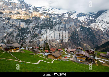 MURREN, SWITZERLAND - APRIL 20: Village among valley on April 20, 2015 in Murren. A traditional Walser mountain - Stock Photo