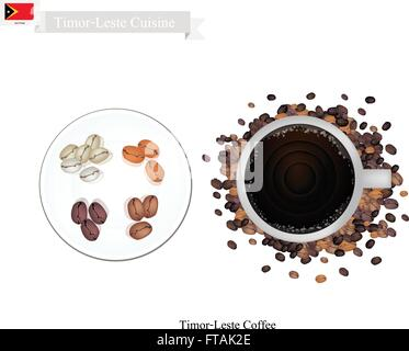 Timor-Leste Cuisine, Hot Coffee Is One of The Most Popular Dessert in Timor-Leste. - Stock Photo