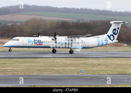 G-FLBB, a de Havilland DHC-8-400 (or Bombardier Q400) operated by the airline Flybe, during training at Prestwick - Stock Photo